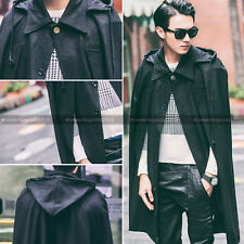 Dark Men Mod Poncho Hoodie Gothic Perform Vintage Awesome Jacket Cloak Cape Coat