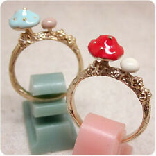 1PC Size 7 Exquisite Trendy Mushroom Oil Drip Party Lady Finger Ring 2 Color