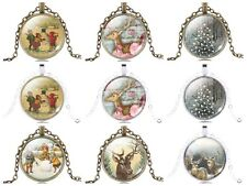 2015 New Charm Snow,Elk deer Photo Glass Dome Cabochon Pendant Necklace for Gift