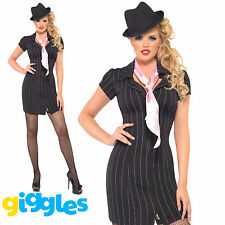 Ladies Fever Gangster Lady Costume 1920S Sexy Bugsy Malone Fancy Dress Outfit
