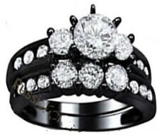 2pc set real 925 sterling silver black Women's Wedding Engagement Ring Sz 4-11,5