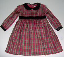 NWT Petit Ami girls red green checked Christmas Holiday party dress 18m NEW