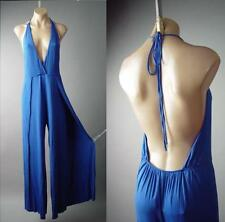 Blue Halter Plunge Neck Open Back Wide Leg High Slit Pants 145 mv Jumpsuit S M L