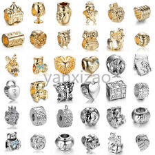 24k gold plated  European charms bead For 925 Sterling silver Bracelet Chain US