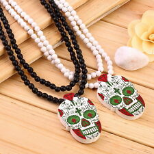 Fashion Hip Hop WOOD Beads Chain SKULL Necklaces & Pendants Jewelry Bijoux s3