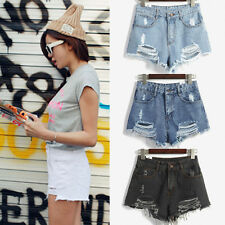 Fashion Women High Waist Shorts Jeans Tassel Hole Short Jeans Denim Shorts