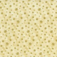 RJR Holiday Accents Cream with Gold Metallic Star Christmas Fabric BTY 1990-001