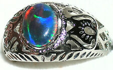 Men's Unique Opal Stainless Steel Ring ** Hypoallergenic **   Exclusive #101