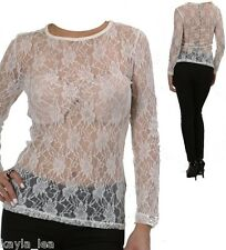 Ivory Sheer Mesh Stretch Lace Long Sleeve Top S/M/L/XL #LK-C