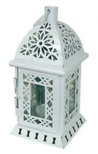 French Provincial Shabby Perforated Metal Lantern Candle Holder Hanging