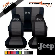 1997-2002 Jeep Wrangler Black Charcoal Seat Covers/ Old Jeep Design . 9 Colors