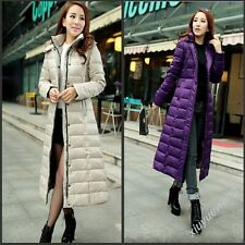 New Womens Thick Hooded Warm Coat Full Length Duck Down Quilted Outwears Jackets