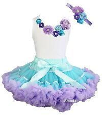 Blue Lavender Extra Full Pettiskirt Tutu Wedding Birthday Party Dress 3pcs