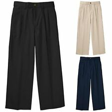 NEW George Boys' Scotchgard Pleated Twill Pant 100% Cotton  Adj Waist Uniform