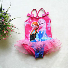 Girls Kids Princess Frozen Elsa Anna 2-8Y Tutus Swimsuit Swimwear Bathing Bikini