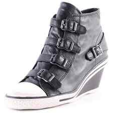 Ash Genial Mid-Wedge Womens Leather Black Wedge Trainers New Shoes All Sizes