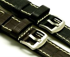 24mm Black Brown Leather Hand-Stitched Watch Band Crocodile Grain Brushed Buckle