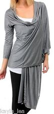 Gray Long Sleeve Scarf/Tie/Wrap Drape Front Cardigan/Cover-Up