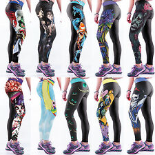 Womens Sport Fitness Yoga Skinny Pants Printed Workout Cropped Leggings Trousers