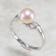 TPJ  14k  White Gold, Genuine Pink AAA Cultured Pearl & Diamonds Cocktail Ring