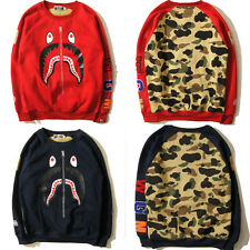 New Men's Shark Cotton bape Sweatshirt Casual Crew Pullover camo Sweater 3size