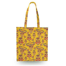 Mexican Sugar Skulls in Gold Canvas Tote Bag - 16x16 inch Book Gym Bag Optional