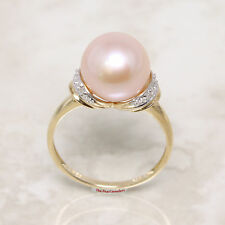 14k Yellow Gold Genuine AAA Romantic Pink Cultured Pearl Diamonds Cocktail Ring