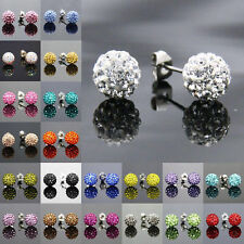 Fashion Studs Earrings Crystal Clay Disco Ball 30 Colors chic rhinestone