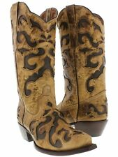 Women's Brown Beige Overlay Leather Cowboy Cowgirl Leather Boots Western Rodeo