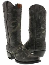 Women's Black Overlay Leather Cowboy Cowgirl Leather Boots Western Rodeo Riding