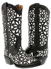 Women's Black Vitralli Studded Western Cowboy Boots Leather Cowgirl Rodeo New