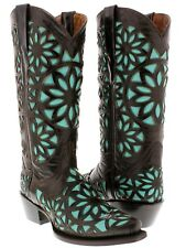 Women's Brown Turquoise Vitralli Studded Western Cowboy Boots Leather Rodeo New