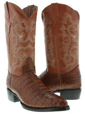 Mens Cognac Crocodile Alligator Belly Western Cowboy Boots Leather Rodeo