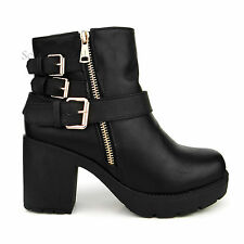 New Womens Ladies Chunky Platform Mid Block Heel Buckle Biker Ankle Boots Shoes