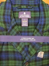 Mens Staffod Flannel Pajama set  Large green blue plaid cotton flannel
