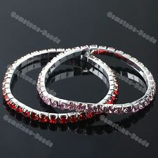 1x Fashion Silver Plated Crystal Rhinestone Copper Bracelet Elastic Stretch Gift