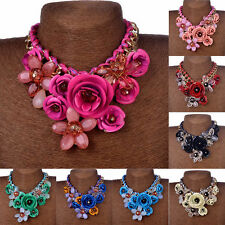 Statement Choker Flower Necklace Crystal Chunky Collar Pendant Fashion Jewelry