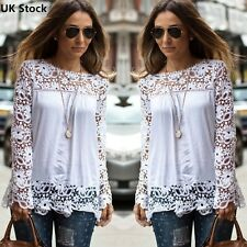 Fashion New Ladies Embroidery Lace Long Sleeve Top Shirt Blouse T-shirt Size8-28