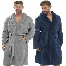 Mens Supersoft Fleece Dressing Gown with Contrast Waffle Shawl Collar Housecoat