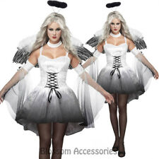CL505 Angel Of Darkness Dark Gothic Womens Fancy Halloween Costume Feather Wings