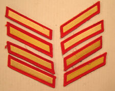 4 pair (8) USMC Marine Corps 4 Year Service Stripes, Gold/Red/Male/Dress Uniform