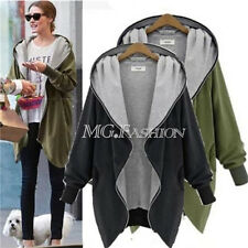 Women Autumn Winter Oversize Zip Up Hoodies Ladies Long Sleeve Parka Jacket Coat