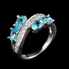 6*4MM CZ Blue Rings Crystal Aquamarine Women's 18Kt White Gold Filled Size 6-10