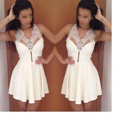Women Sexy White Lace V-Neck Sleveeless Cocktail Evening Party Mini Dress A14