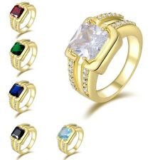 Fashion Mens Size 8,9,10,11,12 Sapphire Emerald 10K Gold Filled Engagement Rings