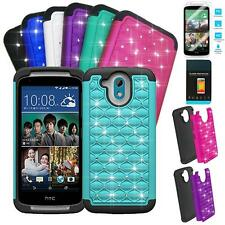 Phone Case For Verizon HTC Desire 526 Rugged Cover Crystal Tempered Class Screen