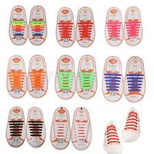 Pair of 12pc KIDS NO TIE Silicone Shoelaces Shoe Laces Sneakers Running Sporting