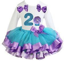 Number 2 Cupcake White Tee Blue Lavender Satin Trimmed Tutu Birthday Party Dress