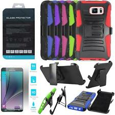 Phone Case For Galaxy Note 5 Holster Rugged Cover Tempered Class Screen Guard