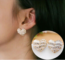 Fashion Women Heart Ear Stud Lady Crystal Rhinestone Earrings Jewelry Gift New T